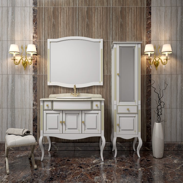 Мебель для ванной классическая белая