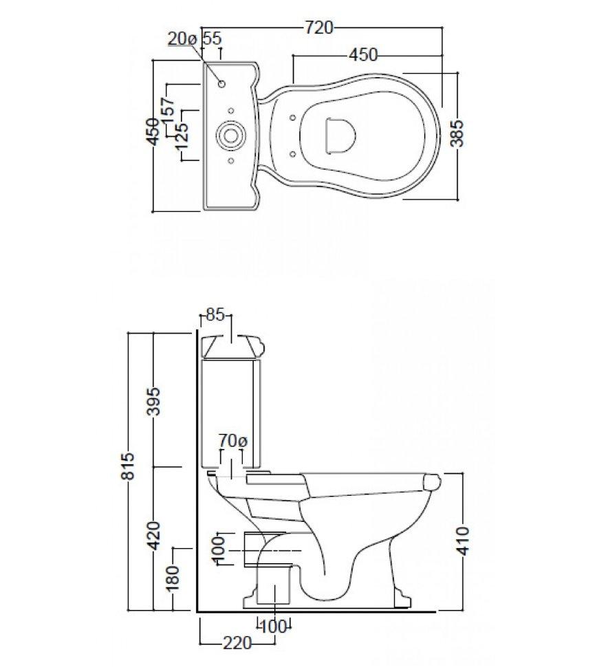 Схема напольного унитаза
